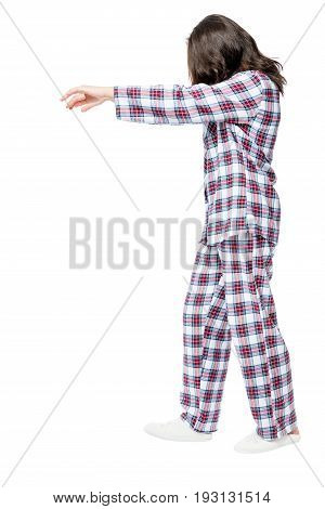 Woman Suffers From Sleepwalking In A Dream, Portrait In Full Length On A White Background