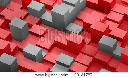 Abstract Background Of Cubes And Parallelepipeds In Red And Gray Colors