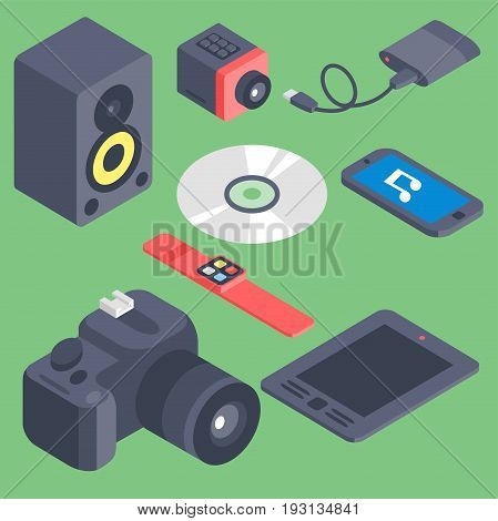 Vector set of isometric computer devices icons wireless technologies mobile communication 3d illustration. Digital electronic technology design.