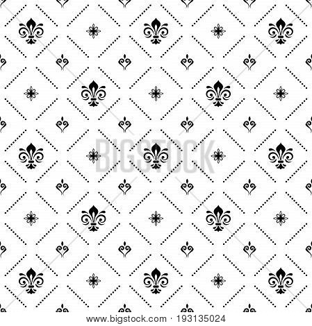 Seamless vector black and white pattern. Modern geometric ornament with royal lilies. Classic vintage background