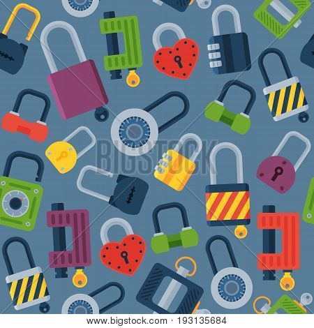 House door-lock access equipment web safety conept padlock vector illustration. Locker close safeguard modern firewall equipment.
