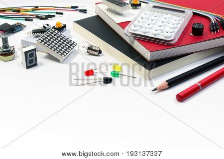 Diy Electronic Maker Tools Components On White Background. Diy Electronic Maker Tools With Copy Spac