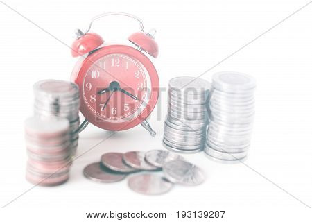 Red old fashioned alarm clock on time to work at make money.