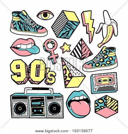 Memphis Fashion patch badges with lips, sneakers, banana, triangle, etc. Vector illustration isolated on white background. Set of stickers, pins, patches in trendy 80s-90s memphis style.