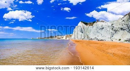 Unique beautiful Xi beach with orange sands in kefalonia island,