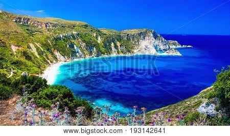Amazing Greece series - beautiful beach Petani in Kefalonia. Ion