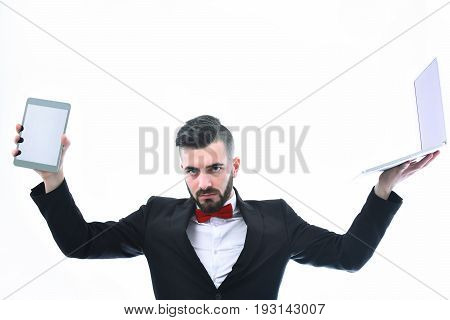 Businessman With Beard Or Director With Strong And Serious Face
