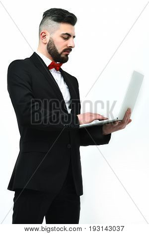 Concentrated Businessman Or Executive Director With Red Bow Tie