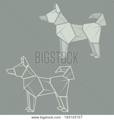 Set vector simple illustration paper origami and contour drawing of husky.