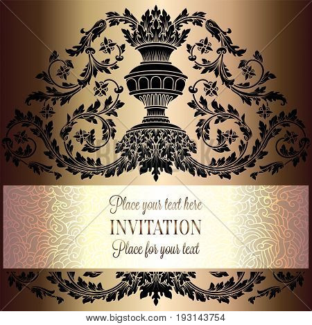 Victorian Rich Background With Antique, Luxury Black And Gold Vintage Frame, Ornamental Banner, Roya