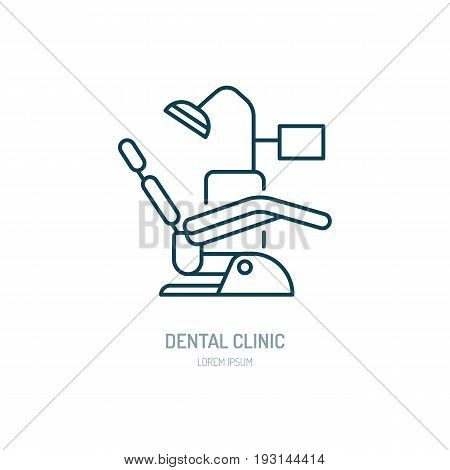 Dentist chair, orthodontics line icon. Dental care equipment sign, medical elements. Health care thin linear symbol for dentistry clinic.