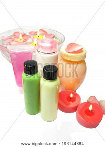 spa hair mask creme liquid soap candles towel essences