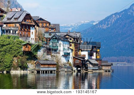 View of the Hallstatt from lake Hallstater See Austria