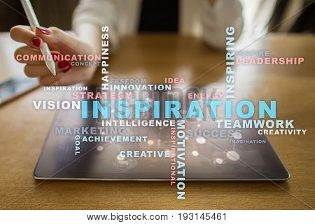 Inspiration words cloud on the virtual screen