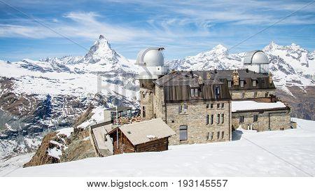 ZERMATT, SWITZERLAND - May 16. 2017: Matterhorn and the Gornergrat Observatory during winter.