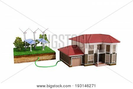 The Concept Of Ecologically Clean Energy The House Is Connected To Solar Panels  3D Render On White