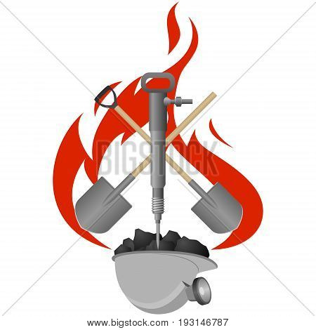 Pneumatic hammer, shovel and helmet with coal on a background of fire. The illustration on a white background.