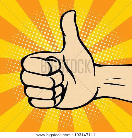 Thumbs up gesture. Vector pop-art illustration of gesture of approval