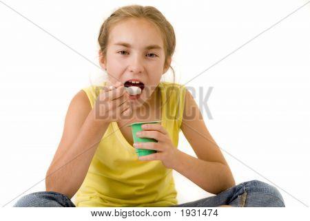 Girl Eating Yoghurt I