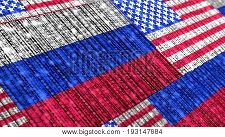 Russian and us flag composed of binary datastreams cybersecurity concept 3D illustration