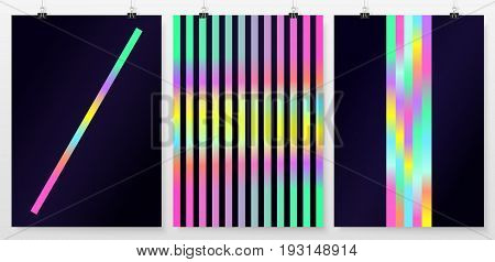 Poster Backgrounds Set Business Collection Holographic Retro