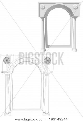 Archway with columns isolated on white background