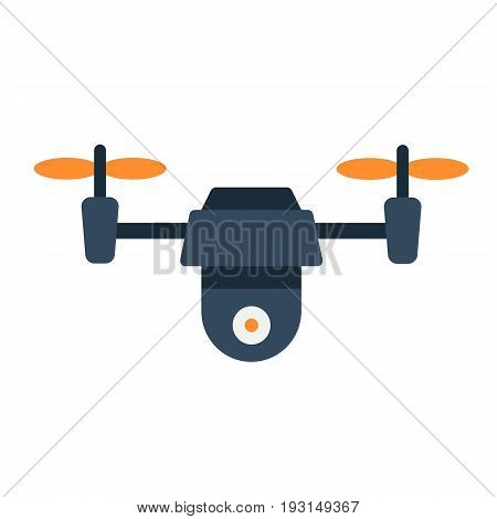 Drone flat icon, fly and copter, vector graphics, a colorful solid pattern on a white background, eps 10.
