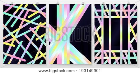 Poster Backgrounds Set Business Collection Holographic Retro 2