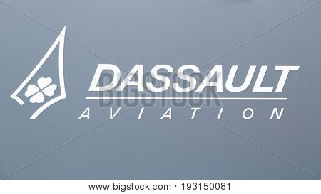 PARIS FRANCE - JUN 23 2017: Dassault Aviation sign at the Paris Air Show 2017. Dassault Aviation international French aircraft manufacturer of aircraft and a subsidiary of Dassault Group.