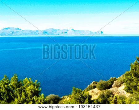 Sea landscape (Sicily, Italy) with watercolour effect