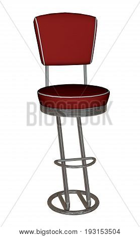 Red leather and chrome bar stool isolated on white background - 3D render