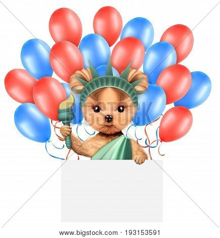 Funny dog holding torch, poster and surrounded by balloons. Concept of 4th of July and Independence Day, Realistic 3D illustration.