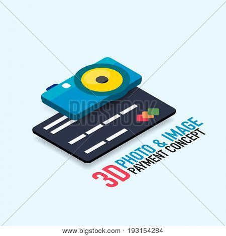 payment for image or photo concept with credit card, modern isometric flat style design