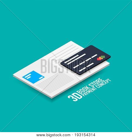 payment for e-book or e-magazine concept with credit card, modern isometric flat style design
