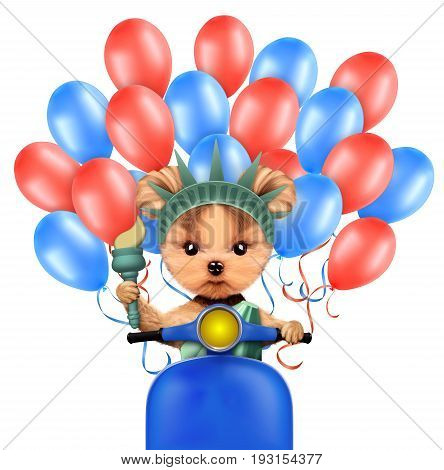 Funny dog holding torch, sitting on scooter and surrounded by balloons. Concept of 4th of July and Independence Day, Realistic 3D illustration.