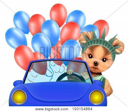 Funny dog as statue of liberty sitting on car and surrounded by balloons. Concept of 4th of July and Independence Day, Realistic 3D illustration.