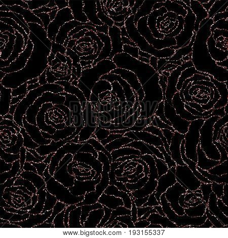 Seamless Pattern With Vector Pink Glitter Roses. Vector Illustration Of A Silhouette Of A Flower, Co
