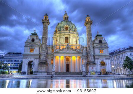 Saint Charles's Church at Karlsplatz in Vienna by night, Austria, HDR