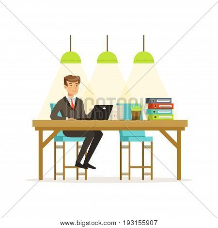 Smiling businessman in a suit working with laptop in the open space office vector Illustration isolated on a white background
