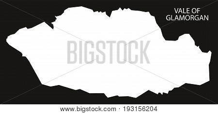 Vale Of Glamorgan Wales Map Black Inverted Silhouette Illustration