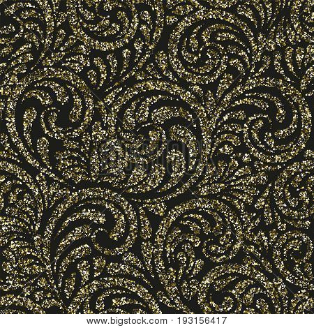 Seamless Pattern With Vector Gold Glitter Swirls. Vector Ornament, Consisting Of Sequins Or Glitter.