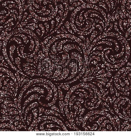 Seamless Pattern With Vector Pink Glitter Swirls. Vector Ornament, Consisting Of Sequins Or Glitter.