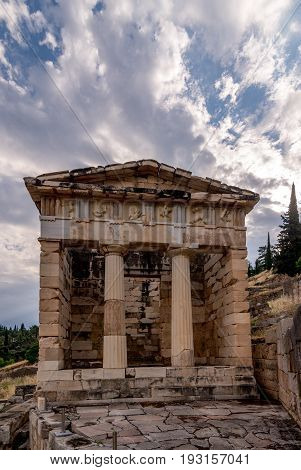 Ancient treasury of Athens at Delphi Greece