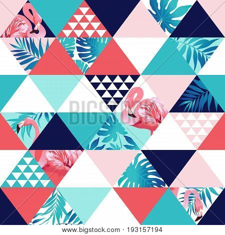 Exotic beach trendy seamless pattern, patchwork illustrated floral vector tropical banana leaves. Jungle pink flamingos print background mosaic