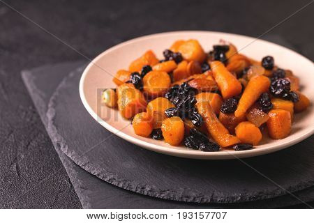 Jewish Tzimmes Dessert With Carrot, Raisins And Dried Fruits