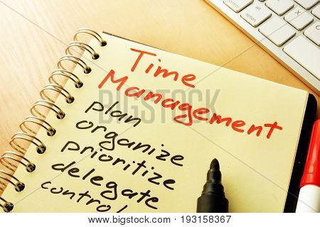 Time management title and list from plan, organize, prioritize.