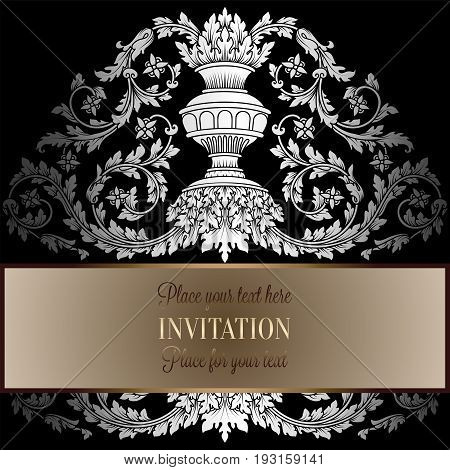 Victorian Rich Background With Antique, Luxury Black And Silver Vintage Frame, Ornamental Banner, Ro