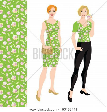 Young blonde woman with bob haircut holding ice cream in her hand. Vector illustration of pattern with deserts on green background.