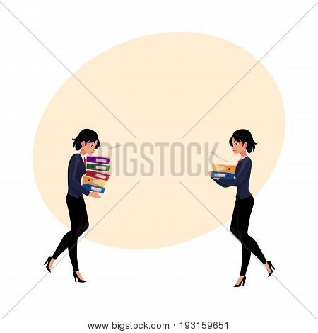 Businesswoman carrying pile of document folders, normal and heavy workload concept, cartoon vector illustration with space for text. Businesswoman with folders of documents, workload concept