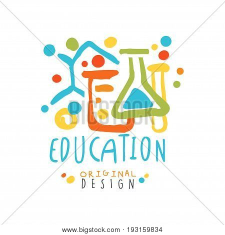 Education label original design, back to school logo colorful hand drawn vector Illustration